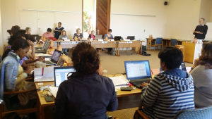 Participants taking part in an activity at the Mont Fleur TDG Writing Retreat, April 2016