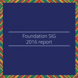 Foundation SIG 2016 report