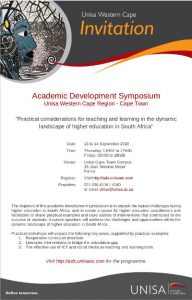 Unisa_Academic Development Symposium_Invitation HELTASA Symposium