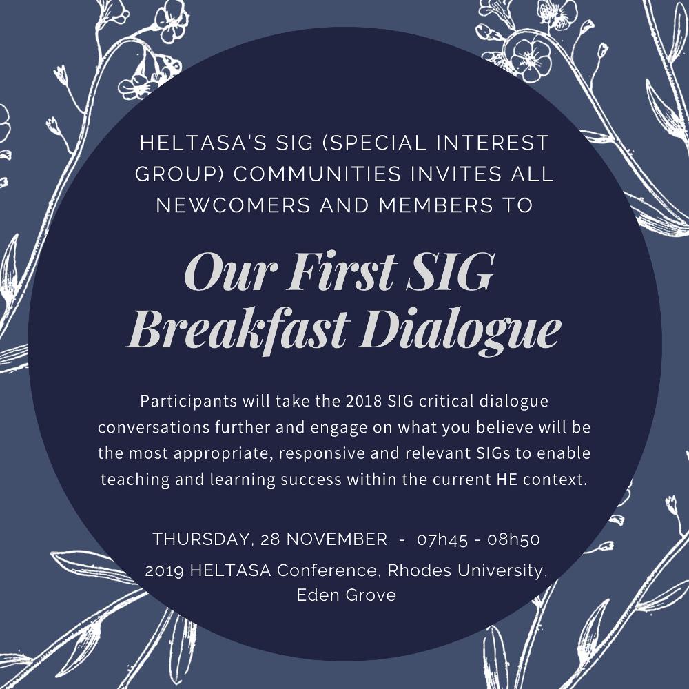 Invitation - SIG Breakfast Dialogue HELTASA